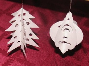 3-D tree and ornament shaped ornaments
