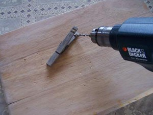 Drilling clothes pin.