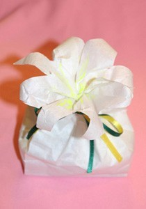 A paper bag turned into a Easter lily.