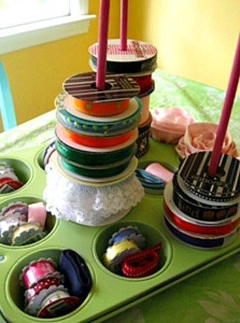Muffin Tin Ribbon Organizer