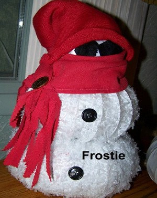 Snowman with red hat, scarf, and shades.