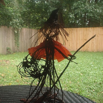 witch on patio table