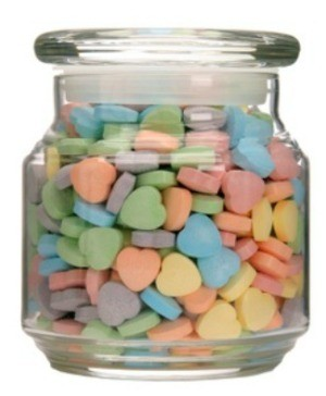 conversation hearts in jar