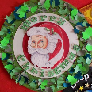 wreath with Santa in center