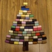 Making a Thread Spool Christmas Tree - small spools of thread used to make a tree shape