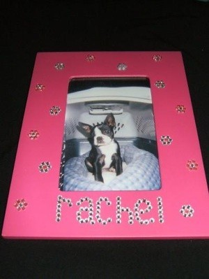 pink frame with name created from stick on rhinestones