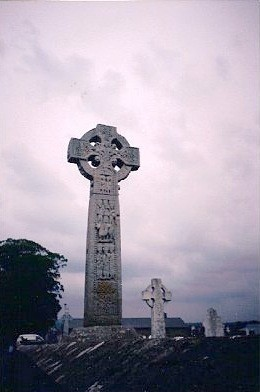 A cross in a graveyard in Ireland.
