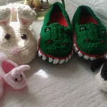 Crochet slippers.