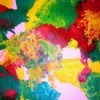 colorful abstract painting made using a hair dryer