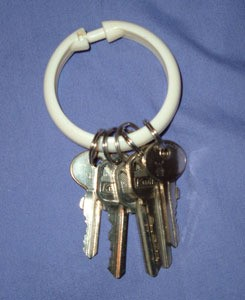 Reuse Shower Curtain Rings For Keys or Clothes