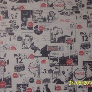 Wall paper with Coke images.