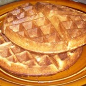 Round waffles on plate