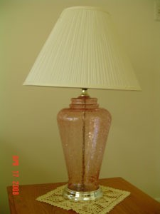 A clear glass lamp.