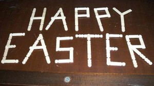 Craft sticks spelling Happy Easter.