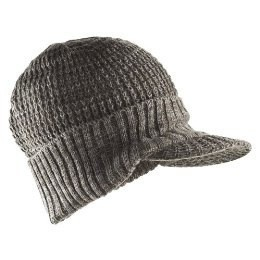 Grey knit hat with brim.