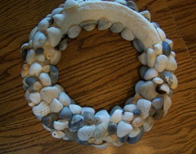 plaster covered Styrofoam and shell wreath