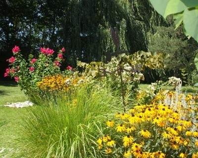 Various flowers with rudbeckia in the foreground.