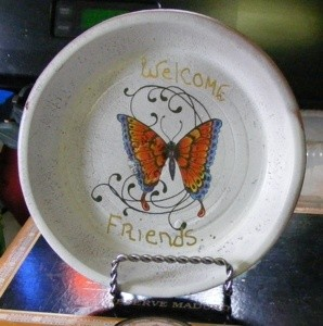 painted clay pot saucer with butterfly