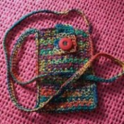 Multicolored crocheted purse.