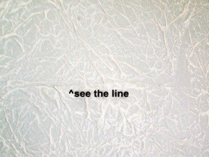 View of the line at edge of tissue paper.