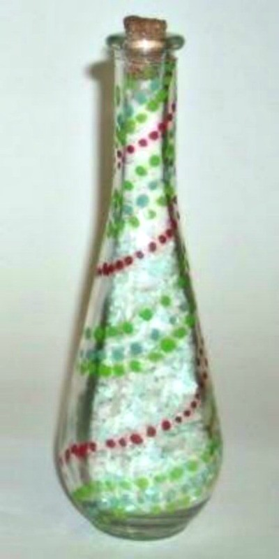 Decorative Painted Glass Bottle