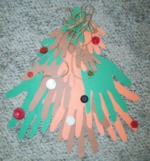 closeup of handprint tree decoration