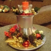 Candle holder centerpiece for the holidays.