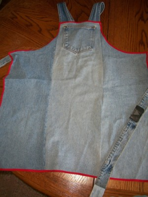 A grilling apron made out of blue jeans
