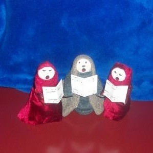 Three medicine bottle carolers.