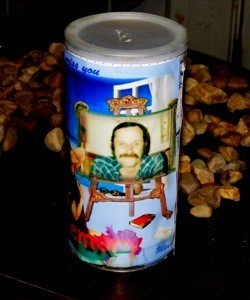 Recycled bread crumb can bank decorated with photos
