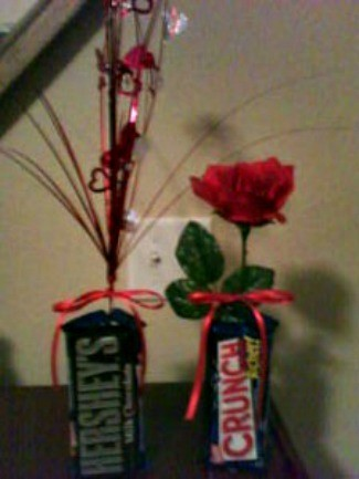 vase made from candy bars