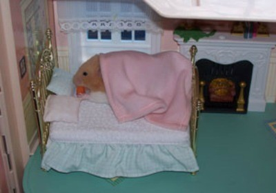 hamster on doll house bed