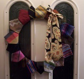 Necktie door wreath.