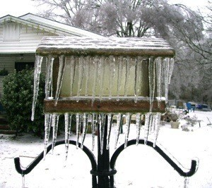 Birdfeeder covered in ice and icicles.