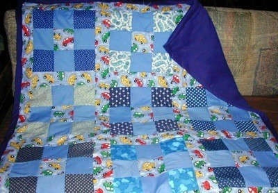 Block quilt in blues.
