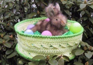 stuffed bunny in basket