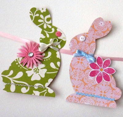 Closeup of two of the paper bunnies.