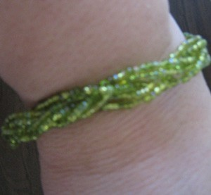light green beaded bracket