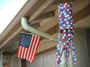 red, white, and blue windsock