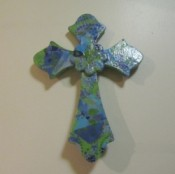 Blue and green cross.