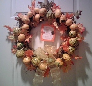 gourd wreath on door