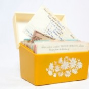 Yellow notecard recipe box