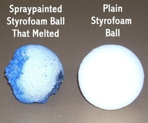 Two Styrofoam balls, one painted and melted and one unpainted.
