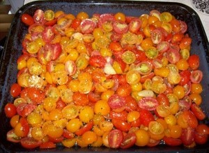 Pan of red and yellow cherry tomatoes.