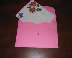 Finished card tucked inside envelope.