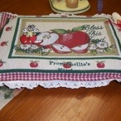 Placemat casserole dish cover.