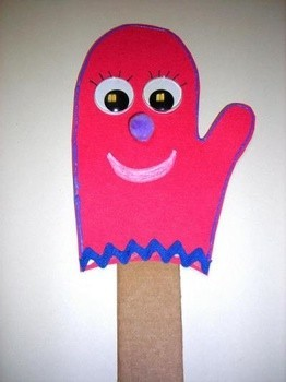 stick puppet in the shape of a mitten with face