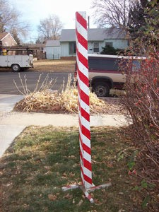 candy cane post outdoors