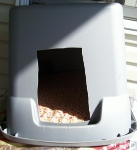 Plastic tub shelter for cats.