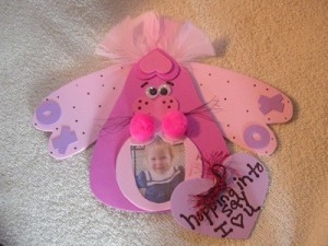 Pink bunny photo frame.